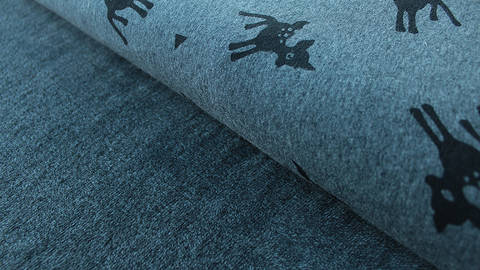 Grau melierter Happy Fleece: Rehe - 150 cm kaufen im Makerist Materialshop