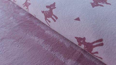 Rosafarbener Happy Fleece: Rehe - 150 cm kaufen im Makerist Materialshop
