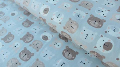 Hellgrauer bedruckter Jersey: Avalana Bären - 162 cm kaufen im Makerist Materialshop