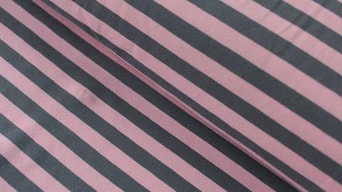 Grau-rosafarbener Ringel-Jersey: dicke Streifen - 165 cm kaufen im Makerist Materialshop