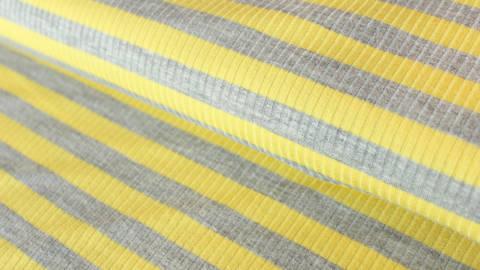 Gelb-grauer Ripp-Viskosjersey: Streifen - 145 cm kaufen im Makerist Materialshop