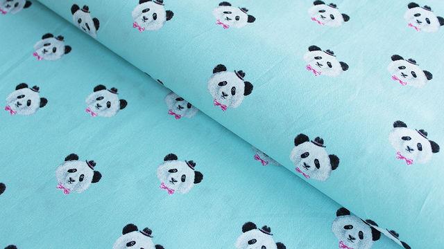 Hellblauer Baumwollstoff: Panda - 150 cm - Stoffe kaufen im Makerist Materialshop