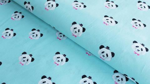 Hellblauer Baumwollstoff: Panda - 150 cm kaufen im Makerist Materialshop