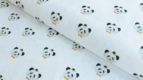 Weißer Baumwollstoff: Panda - 150 cm kaufen im Makerist Materialshop
