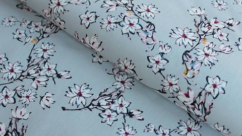 Baumwoll-Satin hellgrau: Kirschblüten - 145 cm kaufen im Makerist Materialshop