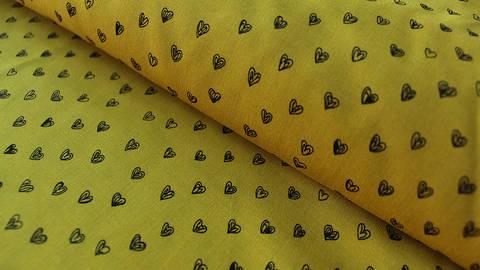 Ockerfarbener Radiance Viskose: Herzen - 140 cm kaufen im Makerist Materialshop