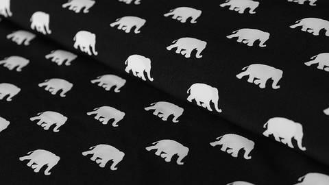 Schwarz-weißer Druckstoff: Elephants - 145 cm - ARCHIVIERT - kaufen im Makerist Materialshop