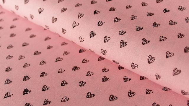Rosafarbener Radiance Viskose: Herzen - 140 cm - Stoffe kaufen im Makerist Materialshop