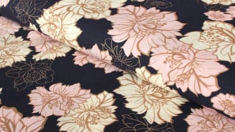 Navy-rosafarbener Druckstoff: Goldene Blumen -144 cm kaufen im Makerist Materialshop