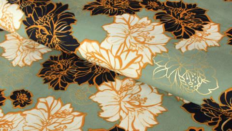 Mintfarbener Druckstoff: Goldene Blumen -144 cm kaufen im Makerist Materialshop