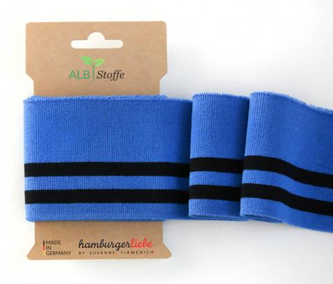 Elastische Cuff me Bündchen: College - Col.16 blau-schwarz kaufen im Makerist Materialshop