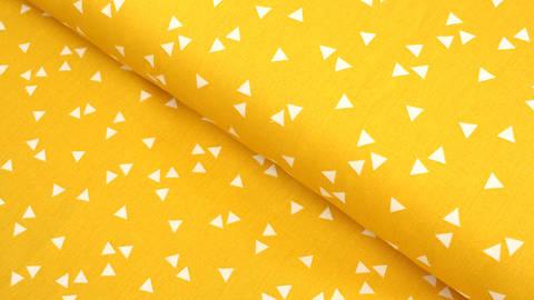 Baumwollstoff Dreieck gelb-weiß: Triangle - 150 cm kaufen im Makerist Materialshop