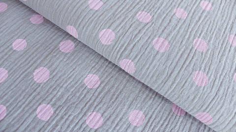 Grau-rosafarbener Baumwollstoff Musselin: Dots - 132 cm kaufen im Makerist Materialshop
