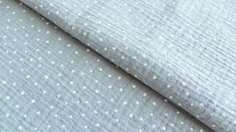 Grau-weißer Baumwollstoff Musselin: Little Dots - 132 cm kaufen im Makerist Materialshop