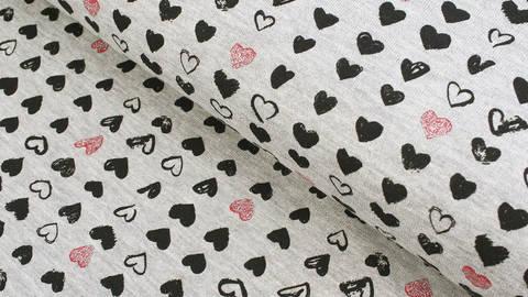 Grauer melierter Sweatstoff: Glitzer Herzen - 140 cm kaufen im Makerist Materialshop
