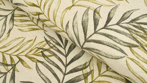 Grün-sandfarbener Baumwollstoff: Leaves - 140 cm kaufen im Makerist Materialshop