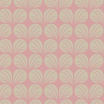 Rosa-ecrufarbener Baumwollstoff: Leaves - 140 cm  - Stoffe kaufen im Makerist Materialshop