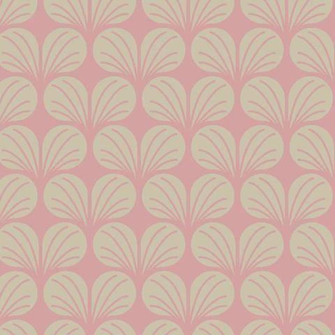 Rosa-ecrufarbener Baumwollstoff: Leaves - 140 cm  kaufen im Makerist Materialshop