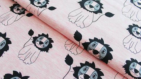 Rosafarbener Sweatstoff Melange: Löwen - 155 cm kaufen im Makerist Materialshop