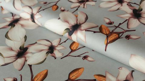 Grauer Druckstoff: Flowers - 150 cm  kaufen im Makerist Materialshop