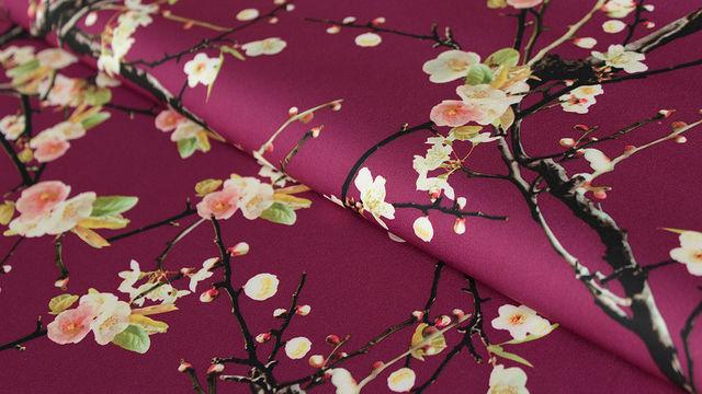 Bordeauxfarbener Druckstoff: Flowers - 150 cm - Stoffe kaufen im Makerist Materialshop
