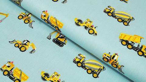 Hellblauer Baumwollstoff: Baustellenfahrzeuge - 150 cm kaufen im Makerist Materialshop