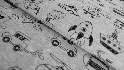 Grau-schwarzer melierter Baumwolljersey: Fahrzeuge - 150 cm kaufen im Makerist Materialshop