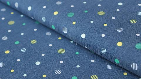 Jeansblauer Jersey: Denim Dots - 150 cm kaufen im Makerist Materialshop