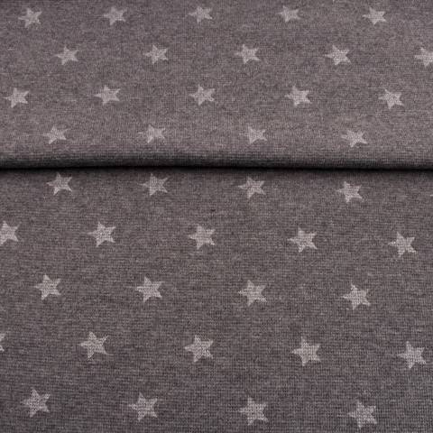 Dunkelgraues meliertes Bündchen: Glitzer Stern - 70 cm  kaufen im Makerist Materialshop