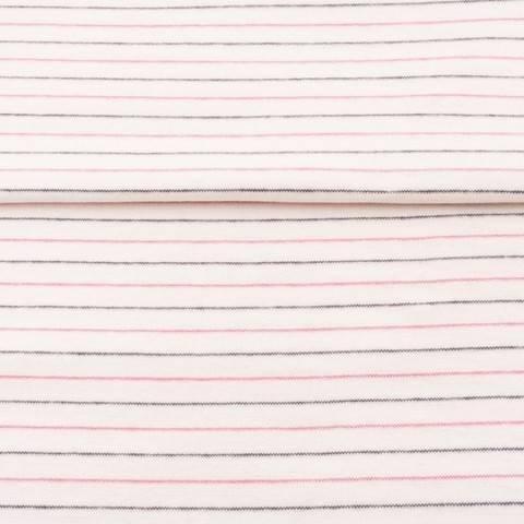 Weiß-fuchsiafarbenes Bündchen: Streifen - 70 cm kaufen im Makerist Materialshop