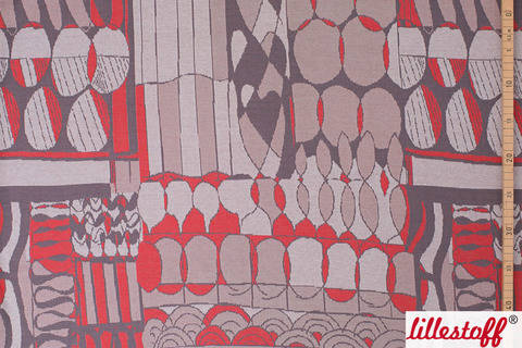 Grau roter Jacquardstoff lillestoff: Squary - 150 cm kaufen im Makerist Materialshop