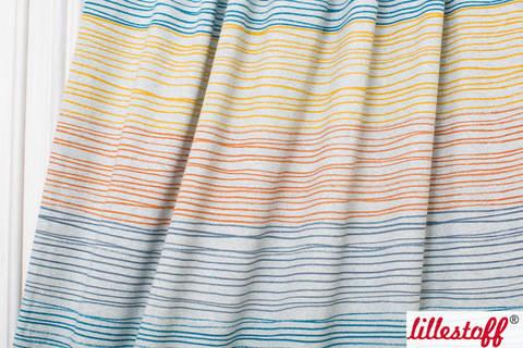 Orange-blau melierter Bio-Jersey lillestoff: Buntstiftstreifen - 160 cm kaufen im Makerist Materialshop