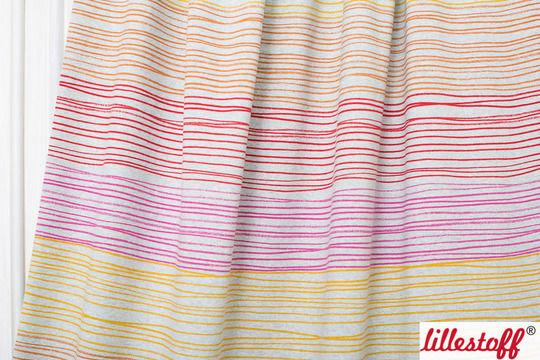 Rot-orange melierter Bio-Jersey lillestoff: Buntstiftstreifen - 150 cm - Stoffe kaufen im Makerist Materialshop