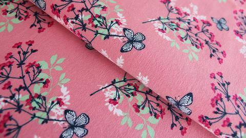 Pinker Jersey: Megan Blue Tricot Butterfly - 150 cm kaufen im Makerist Materialshop