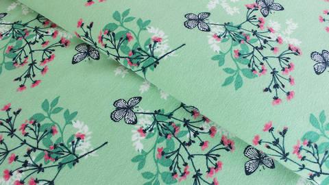 Grüner Jersey: Megan Blue Tricot Butterfly - 150 cm kaufen im Makerist Materialshop
