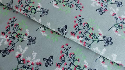 Hellgrauer Jersey: Megan Blue Tricot Butterfly - 150 cm kaufen im Makerist Materialshop