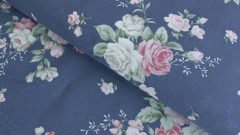 Baumwollstoff dunkelblau: Vintage Roses - 112 cm kaufen im Makerist Materialshop