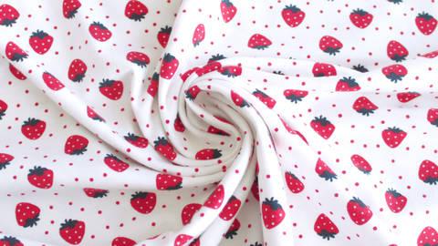 Baumwolljersey weiß bedruckt: Avalana Erdbeeren - 162 cm kaufen im Makerist Materialshop