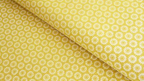 Baumwollstoff senf: Sonnenblumen - 140 cm kaufen im Makerist Materialshop