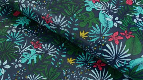 Baumwollstoff blau beschichtet: Bunte Blätter - 130 cm kaufen im Makerist Materialshop