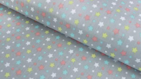 Baumwollstoff grau beschichtet: Sterne und Pünktchen - 150 cm kaufen im Makerist Materialshop