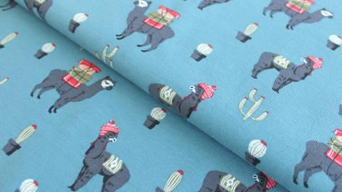 Blauer Sweatstoff: Lamas - 160 cm kaufen im Makerist Materialshop