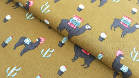 Senffarbener Sweatstoff: Lamas - 160 cm kaufen im Makerist Materialshop