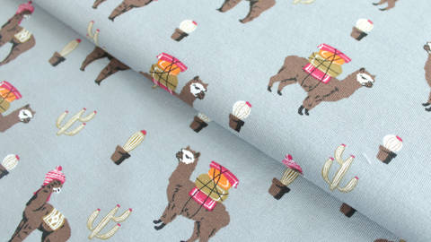 Grauer Sweatstoff: Lamas - 160 cm kaufen im Makerist Materialshop