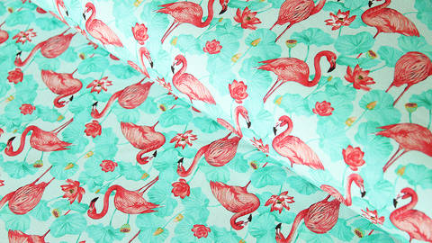 Baumwolljersey mint: Flamingos - 150 cm kaufen im Makerist Materialshop
