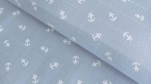 Hellblauer Baumwollstoff Print Musselin: Anker - 140 cm kaufen im Makerist Materialshop