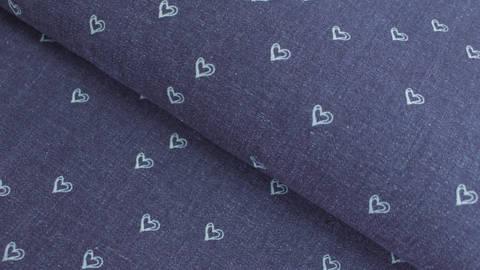 Jeansfarbener Jersey: Herzen - 143 cm kaufen im Makerist Materialshop