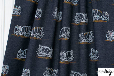 Dunkelblauer Jeansjersey lillestoff: Betonmischer - 160 cm kaufen im Makerist Materialshop