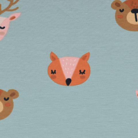 Biojersey - Reh, Bär, Fuchs - rauchblau kaufen im Makerist Materialshop