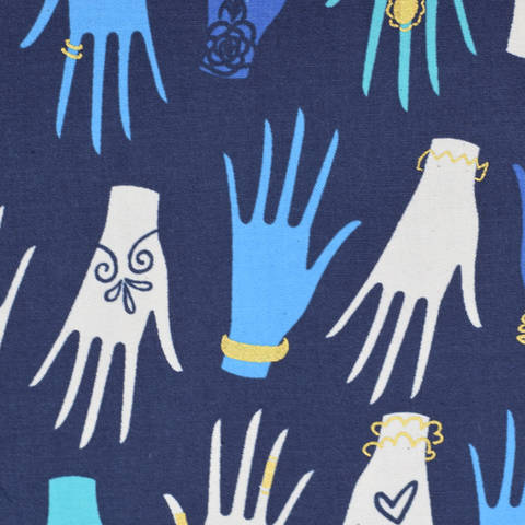 Cotton and Steel - Beauty shop - Manicure Navy kaufen im Makerist Materialshop